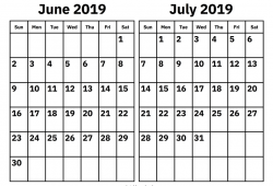 June July And August 2019 Calendar
