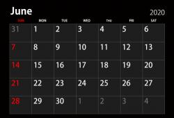 June Calendar 2021 Black and White