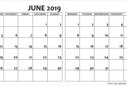 June July 2019 Calendar Monday Start