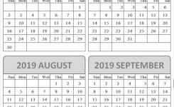 June September 2019 Blank Calendar Cute Month Calendar 2019