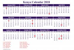 Kenya Calendar 2018