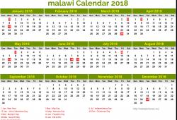 Free Calendar 2018 Malawi Printable
