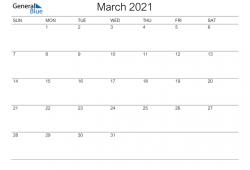 Mar 2021 Calendar Free Template