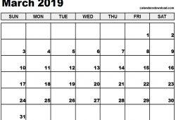2019 Calendar March