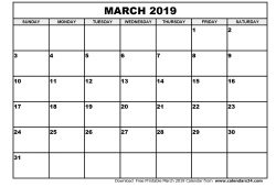 March Calendar 2019 Printable Free