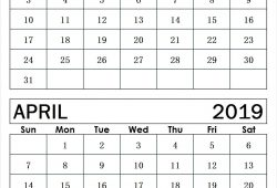 March To April 2019 Calendar Print