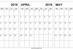Print March April May 2019 Calendar