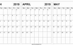 March April May 2019 Calendar Printable March April May