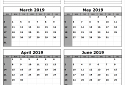 March April May And June 2019 Calendar
