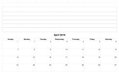 March To April 2019 Calendar Template With Notes