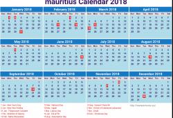Mauritius Calendar 2018