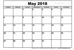 May Calendar 2018 Printable Template Pdf Jpg