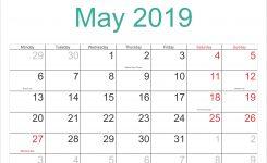 May 2019 Calendar With Holidays Printable Calendar Templates