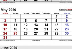 2020 April May June Calendar