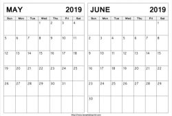 May To June 2019 Calendar Printable