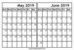 2019 May June Calendar Online