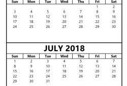 calendar june july 2018