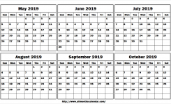 May June July August September October 2019 Blank Calendar Template