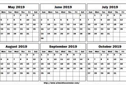 May June July August September October 2019 Calendar