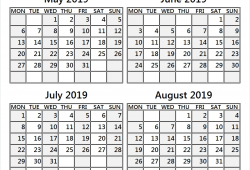 May To August 2019 Four Month Calendar