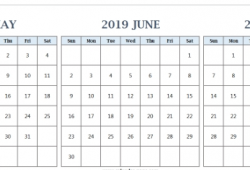May To July 2019 Calendar Template