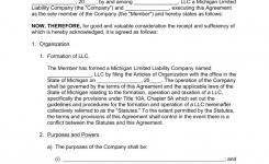 Michigan Single Member Llc Operating Agreement Form Eforms