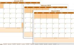 Microsoft Excel Calendar Template 2018 Calendar Month Printable