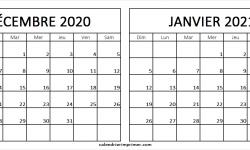 Calendrier Novembre Decembre 2020 Janvier 2021 A Imprimer