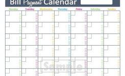 Monthly Bill Calendar Printable Bill Paying Calendar Template
