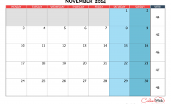 Monthly Calendar Month Of November 2014 The Week Starts On Monday