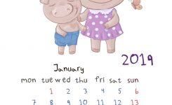 Monthly Creative Calendar 2019 With Cute Cartoon Vector Image