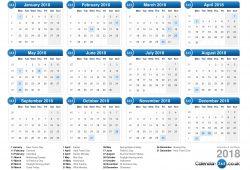 Free 2018 Calendar Uk