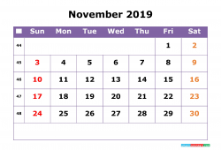 November 2019 Calendar With Week Numbers Printable Monday