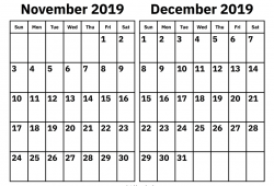 September To December 2019 Calendar Printable