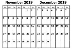 September To December 2019 Calendar Print