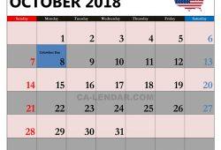 Us Calendar Oct 2018