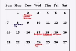october 2018 calendar with holidays