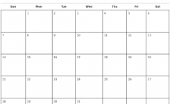 October 2018 Monthly Calendar Template Within Free Monthly Calendar