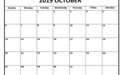 October 2019 Calendar Word Doc Printable Monthly Calendar