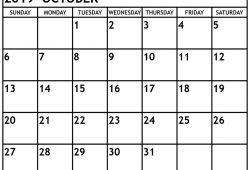 Editable Calendar October 2019 Calendar