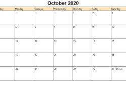 October Calendar 2020 Printable