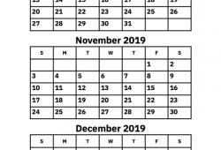 October November December 2019 Blank Calendar