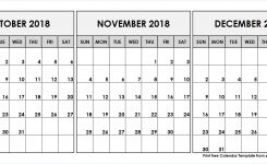 October November December 2018 Calendar 3 Month Calendar Template