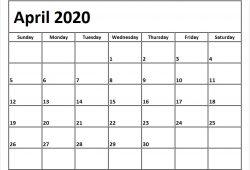 Blank Calendar April 2020