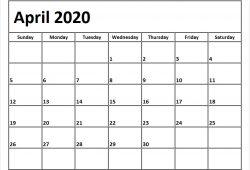 April Calendar 2020 Printable