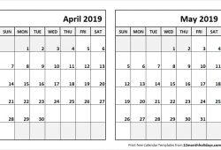 April May 2019 Calendar To Print