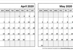 Printable April May 2020 Calendar