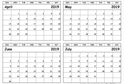 April To June 2019 Calendar