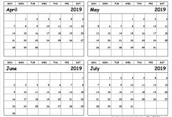 April To June 2019 Calendar