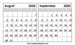 Print Calendar 2020 August September
